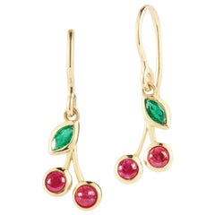 Emerald and Ruby Cherry Earrings