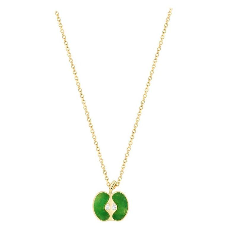 Jade and diamond apple pendant necklace