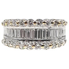 Baguette and Round Cut Diamond 18 Karat White Gold Band Ring