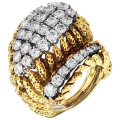 David Webb Hammered Gold and Platinum Diamond Ring