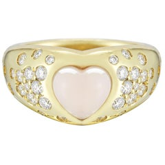 Coral and .65 Carat Diamond Heart Cocktail Ring