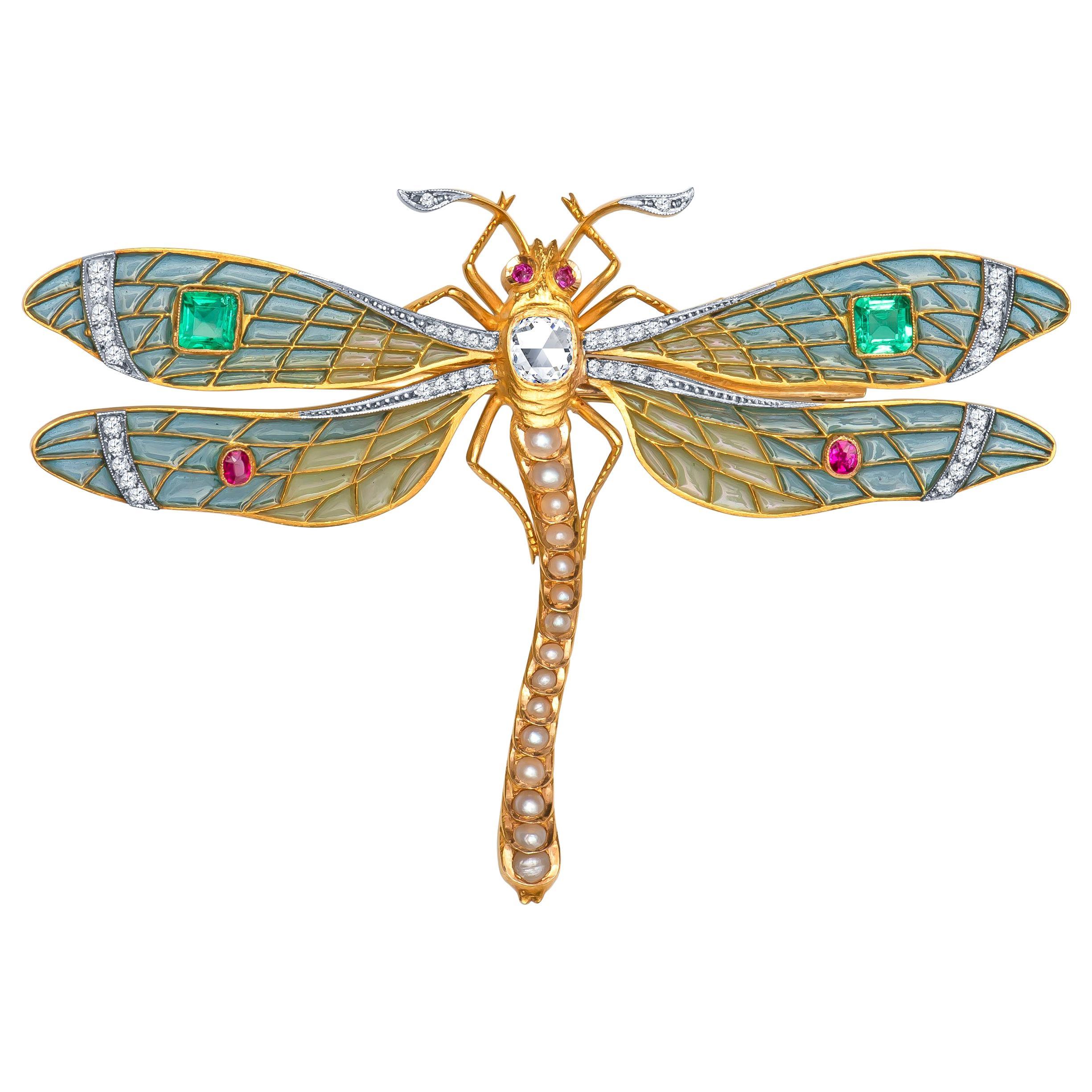 Antique-Style Plique à Jour Dragonfly Brooch, 0.90 Carat Old Miner Diamond, Gems