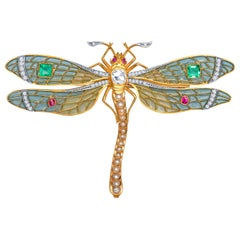 Antique-Style Plique à Jour Dragonfly Brooch, 0.90 Carat Old Miner Diamond, Gems