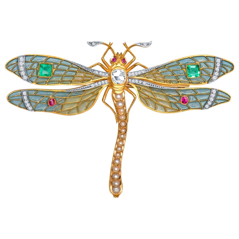 Antique-Style Plique à Jour Dragonfly Brooch, 0.90 Carat Old Miner Diamond, Gems For Sale
