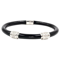 Soho 18 Karat White Gold Diamond and Enamel Bangle Bracelet