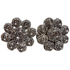 Pasquale Bruni White Gold Diamond Floral Stud Earrings