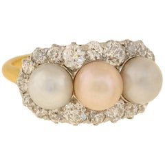 Edwardian Diamond and Natural Pearl Trio Ring