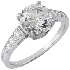 2.13 Carat GIA H / VVS2 Round Brilliant Cut Diamond on Platinum Engagement Ring