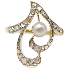 Belle Époque French Diamond Pearl Gold Platinum Heart Ring