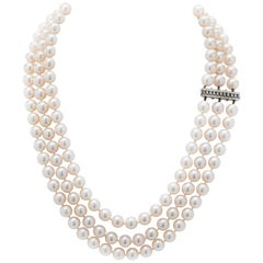 Great Quality Akoya Triple Row Cultured Pearl Necklace with Diamond Clasp