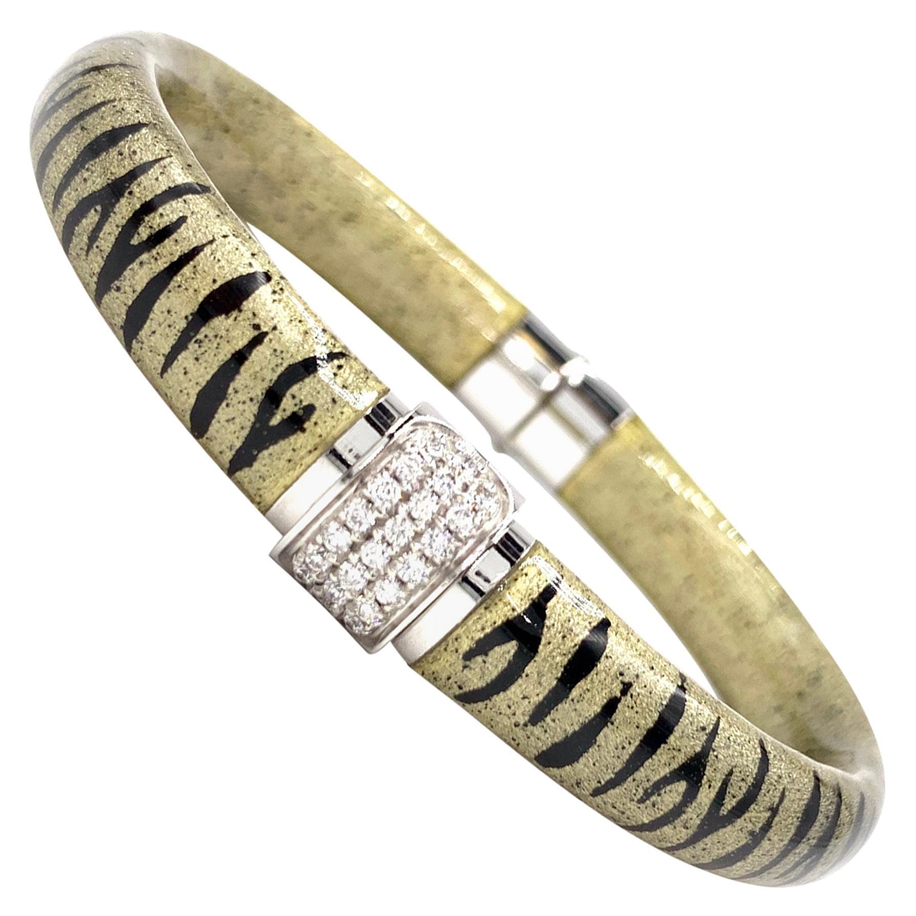 Soho 18 Karat White Gold Diamond and Tiger Print Enamel Bangle Bracelet