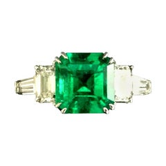 Natural Green Emerald 2.15 Ct GIA Certified with 18 Karat Gold and Diamond Ring