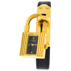Ladies Hermes Kelly KE1.201 Gold Black Leather Belt Quartz Watch