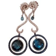 Italian 18 Karat White Gold Diamond Sapphire Blue Topaz Drop Earrings