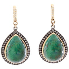 Armenta New World Sterling Silver and Arizona Turquoise Pear Earrings