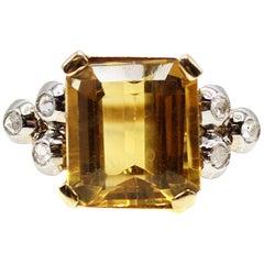 Retro Citrine Diamond 18 Karat Yellow Gold Platinum Ring