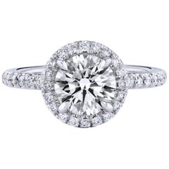 GIA Certified 1.50 Carat Round Brilliant Diamond Platinum Halo Ring
