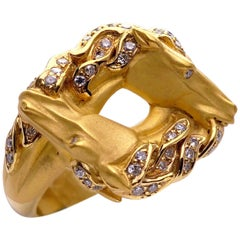 Carrera y Carrera Ecuestre Double Horse Ring with Diamond Accents