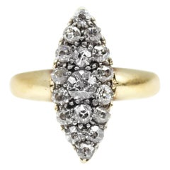 Victorian Old European Cut Diamond Navette Ring
