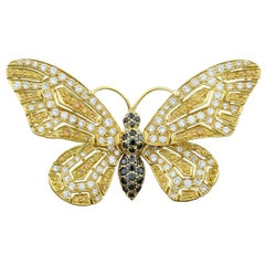 Jean Vitau Multi-Color Diamond Gold Butterfly Brooch