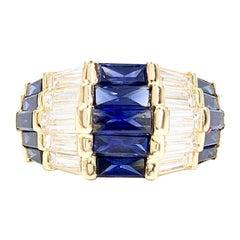 18 Karat Gold Sapphire and Diamond Wide Band