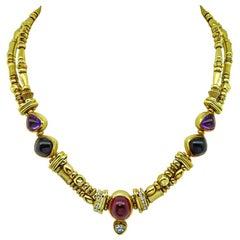 SeidenGang Multicolored Precious Stone Diamond Gold Necklace