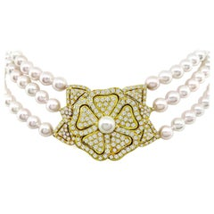 Three-Strand Pearl Diamond Gold Necklace