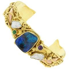 Estate Opal Pearl Tsavorite Amethyst Two-Tone Gold Cuff Bracelet