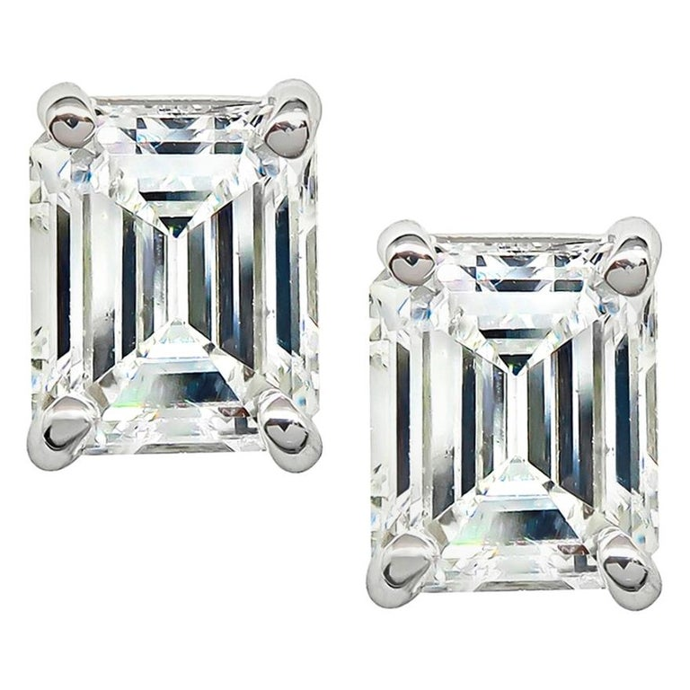 Emerald Cut Diamond White Gold Stud Earrings For Sale