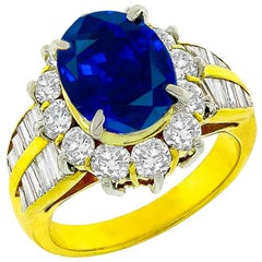 3.46 Carat Sapphire Diamond Gold Cluster Ring