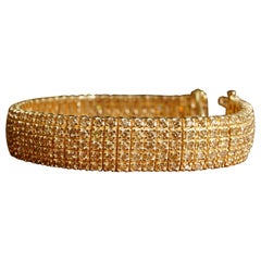 5-Row Cognac Diamond Yellow Gold Bracelet