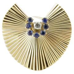 Tiffany & Co. 14 Karat Yellow Gold Sapphire and Diamond Brooch