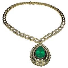 Estate 18K GIA Certified 22.39 CTW Colombian Emerald & Diamond Designer Necklace