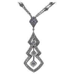 18 Karat White Gold 2.56 Carat Hearts on Fire Diamond Necklace