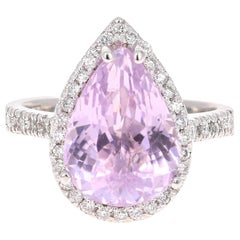 7.04 Carat Kunzite Diamond White Gold Bridal Ring