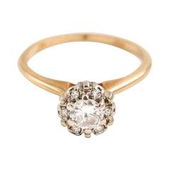 Art Deco 14 Karat Yellow White Gold Diamond Halo Cluster Ring