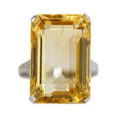 20 Carat Citrine Solitaire 14 Karat White Gold Ring