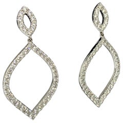 18 Karat White Gold 3.43 Carat Hearts on Fire Diamond Drop Earrings