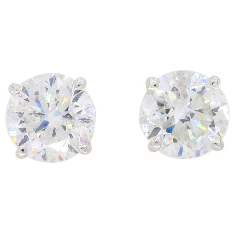 2.40 Carat Diamond Stud Earrings For Sale