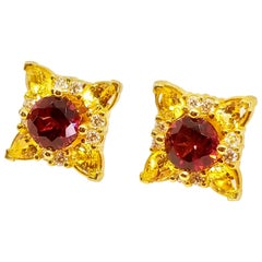 Rhodolite Garnet Canary Unheated Sapphire Diamond Floret Stud Earrings 18 Karat