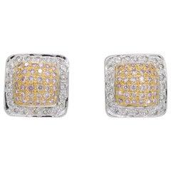 Pink Diamond Square Stud Earrings