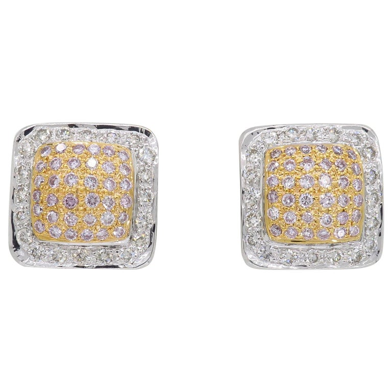 Pink Diamond Square Stud Earrings For Sale