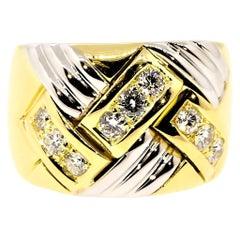 Chopard 18 Karat Yellow and White Gold Diamond Ring