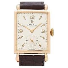 Vintage Rolex Chronometer Rectangular-Shaped 14 Karat Yellow Gold Watch, 1945
