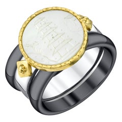 Antique Mother-of-Pearl Gaming Counter 18k Gold and Silver Ring
