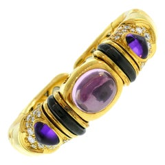 Marina B Gold Bangle Bracelet with Tourmaline Amethyst and Diamond 1980s