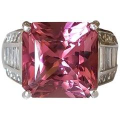 Platinum J.B. Star 7.39 Carat Pink Tourmaline and Diamond Ring