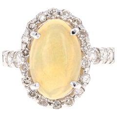 3.61 Carat Opal Diamond 14 Karat White Gold Cocktail Ring