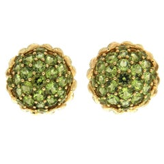 Valentin Magro Peridot Flower Bud Earrings in Yellow Gold