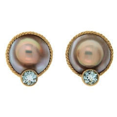 Valentin Magro Mabe Pearl and Aquamarine Earrings